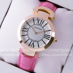Replica Replica Ronde Solo De Cartier Pink Leather 18K Rose Gold Ladies Watches