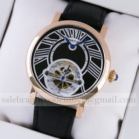 Replica Replica Rotonde de Cartier Rose Gold Black Dial Black Leather Strap Tourbillon Mens Watches