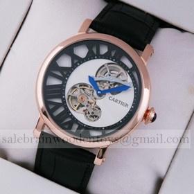 Replica Rotonde de Cartier Fake 18K Rose Gold White-Black Dial Black Leather Strap Tourbilon Watches
