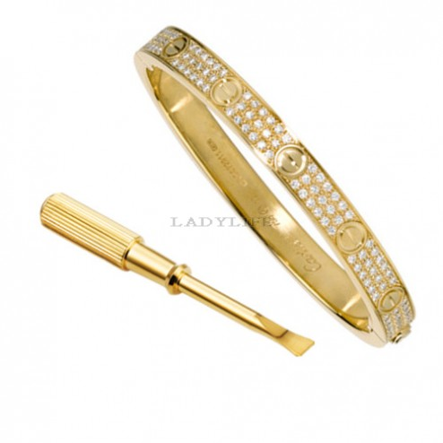 cartier love bracelet yellow gold plated real paved with diamonds replica