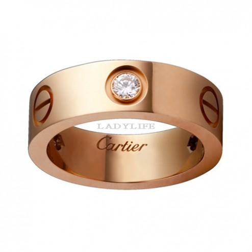 cartier love pink Gold ring mosaic three diamond wide version replica