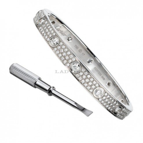 cartier love bracelet white gold with 10 Diamonds paved with diamonds replica
