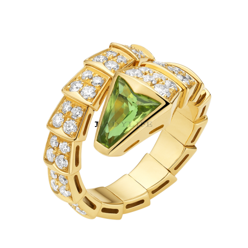 Bvlgari Serpenti ring yellow gold with peridot head paved with diamonds AN856157 replica