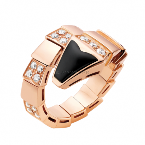 Bvlgari Serpenti ring pink gold onyx paved with diamonds AN855315 replica