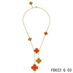 Van Cleef Arpels Magic Alhambra Yellow Gold Necklace 6 Clover Motifs Stone Combinatio