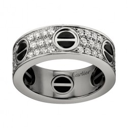 cartier love ring white gold covered diamond wide version replica