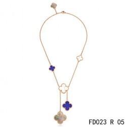 Van Cleef Arpels Magic Alhambra 6 Clover Motifs Stone Combinatio Rose Gold Necklace