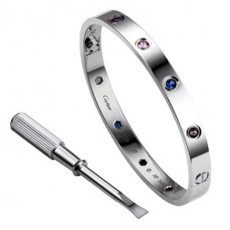 cartier love bracelet white gold plated real aquamarine sapphire spinel amethyst replica