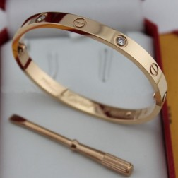 cartier love bracelet pink gold plated real with 4 Diamonds replica