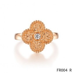 Van Cleef & Arpels Vintage Alhambra Ring,Pink Gold with Diamond
