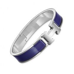 Hermes clic H bracelet white gold narrow purple enamel replica