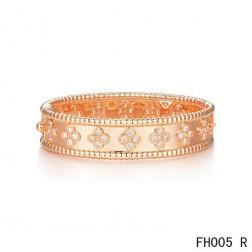 Van Cleef & Arpels Perlee Clover Bracelet,Pink Gold,Medium Model
