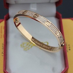 cartier love bracelet pink gold plated real paved with diamonds replica