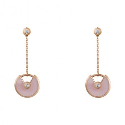 amulette de cartier pink gold earring Pink Opal inlaid 4 diamonds replica