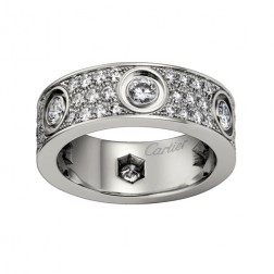 cartier love ring white gold cut diamonds wide version replica