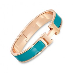 Hermes clic H bracelet pink gold narrow duck blue enamel replica