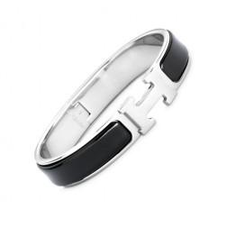 Hermes clic H bracelet white gold narrow black enamel replica