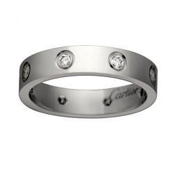 cartier love white gold ring eight diamond narrow version replica