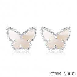 Van Cleef & Arpels Sweet Alhambra White Mother-of-pearl Butterfly Earstuds White Gold