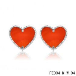 Van Cleef and Arpels Sweet Alhambra Heart Earstuds White Gold Cornelian