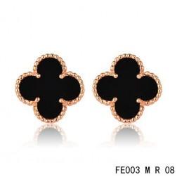 Van Cleef & Arpels Sweet Alhambra Earrings Pink Gold,Black Onyx