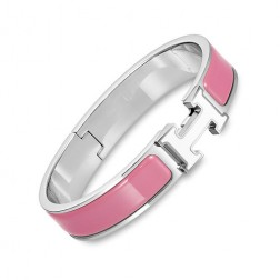 Hermes clic H bracelet white gold narrow velvety pink enamel replica