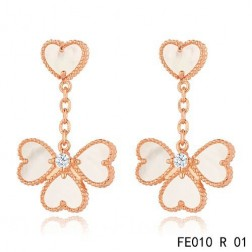Sweet Alhambra Effeuillage Earclips Pink Gold 4 White Mother-of-pearl