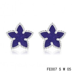 Van Cleef and Arpels White Gold Lucky Alhambra Sapphire Star Earstuds
