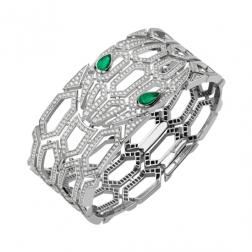 Bvlgari Serpenti Bracelet white gold with emeralds and diamonds BR857667 replica