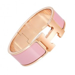 Hermes Clic Clac H bracelet pink gold wide crimson rose enamel replica
