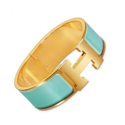 Hermes Clic Clac H bracelet yellow gold wide atoll blue enamel replica