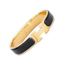 Hermes clic H bracelet yellow gold narrow black enamel replica