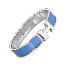 Hermes clic H bracelet white gold narrow transat blue enamel replica