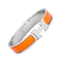 Hermes clic H bracelet white gold narrow orange enamel replica