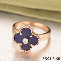 Van Cleef & Arpels Pink Gold Vintage Alhambra Ring Lapis lazuli with Diamond