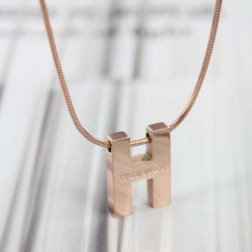 Hermes H pendant pink gold chain necklace replica