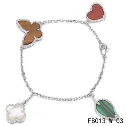 Lucky Alhambra White Gold Bracelet with 4 Stone Combination Motifs CHMT0852