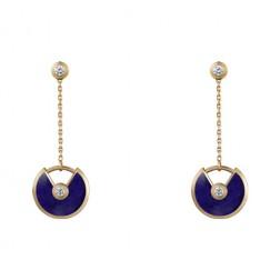 amulette de cartier yellow gold earring Lapis Lazuli inlaid 4 diamonds replica