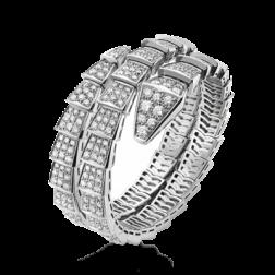 Bvlgari Serpenti Bracelet white gold Double helix Covered with diamonds BR855118 replica