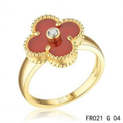 Van Cleef & Arpels Yellow Gold Vintage Alhambra Carnelian Ring with Diamond
