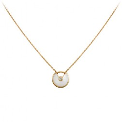 amulette de cartier necklace yellow gold white mother of pearl diamond replica