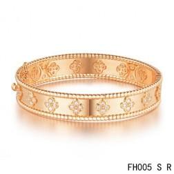 Van Cleef & Arpels Perlee Clover Bracelet,Pink Gold,Small Model
