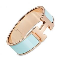 Hermes Clic Clac H bracelet pink gold wide glacier blue enamel replica