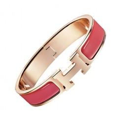 Hermes clic H bracelet pink gold narrow coral red enamel replica