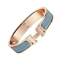 Hermes clic H bracelet pink gold narrow candied chestnut enamel replica