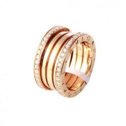 Bvlgari B.ZERO1 ring pink gold 4 band with pave diamonds AN856293 replica