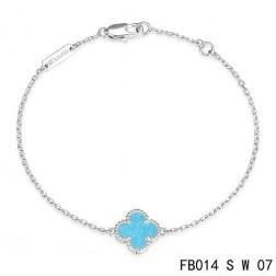 Van Cleef & Arpels White Gold Sweet Alhambra Clover Bracelet,Turquoise
