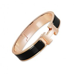Hermes clic H bracelet pink gold narrow black enamel replica