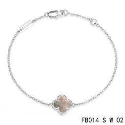 Van Cleef & Arpels Sweet Alhambra Clover Bracelet in White Gold,Gray Mothe-of-parl