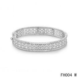 Van Cleef & Arpels Perlee Bracelet with Diamonds,White Gold,Medium Model